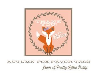 FOX Favor Tag- Fantastic Fox Party - Girl Fox Party - party supplies