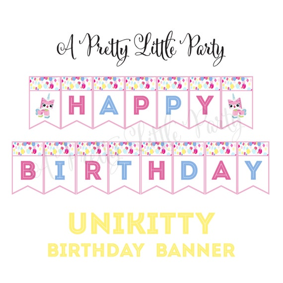 UNIKITTY Birthday Banner - Movie Banner Birthday - Party Supplies - INSTANT DOWNLOAD