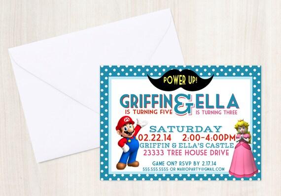 Mario & Princess Peach Birthday Party Invite - Joint Mario Party -  Princess Peach - Mario - Party Supplies