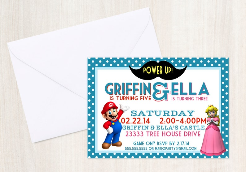 Mario Princess Peach Birthday Party Invite Joint