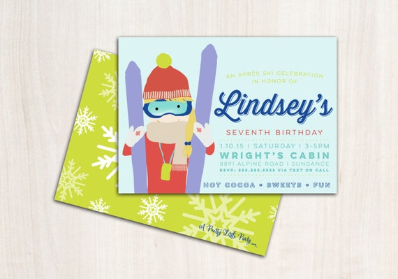 Ski Girl Party Invitation - Snow Skier Party  - Apres Ski - Printable Party Supplies