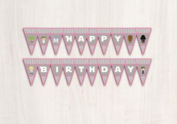 Star Wars banner - Star Wars Banner in Pink - Party Supplies - INSTANT DOWNLOAD