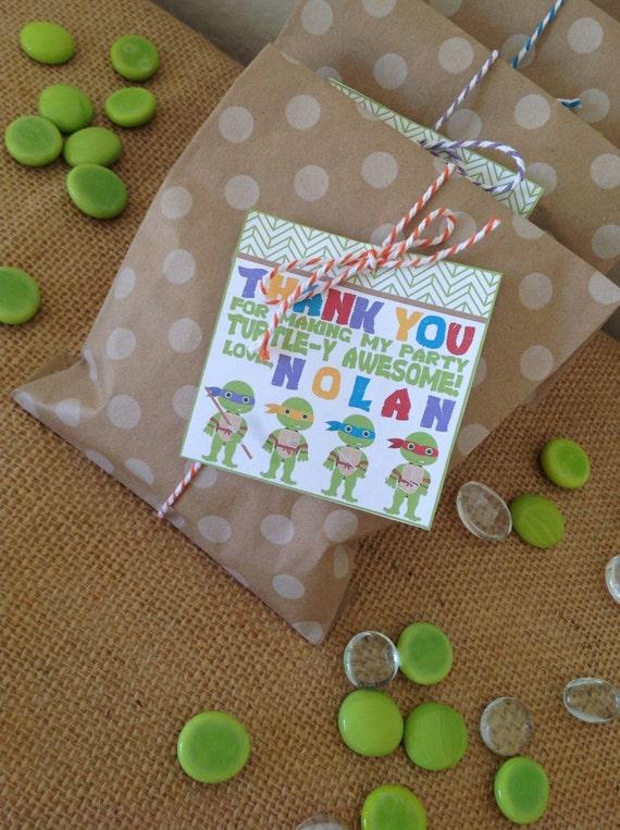 Custom TMNT  Favor Tags - Teenage Mutant NInja Turtle Party - Party Supplies