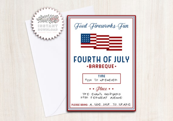 4th July BBQ Party Invite - Instant Download Invitation