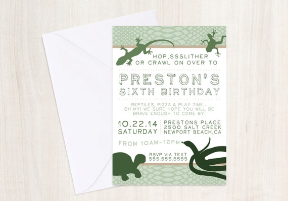 Reptile Party invitation -  Snake party - Reptiles party - DIGITAL PARTY INVITE