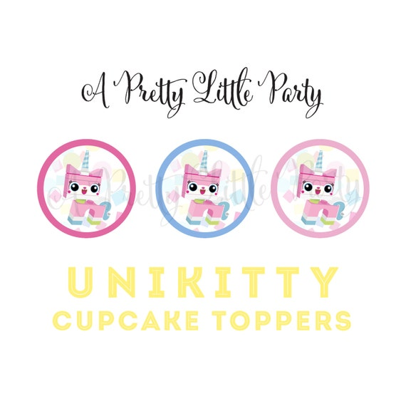 UNIKITTY Cupcake Toppers - Movie Banner Birthday - Party Supplies - INSTANT DOWNLOAD