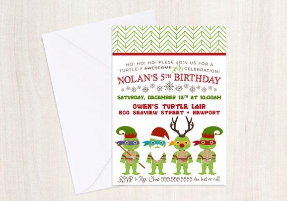 TMNT X-Mas Party Invite - TMNT Christmas Invitation -  Ninja - Party Supplies