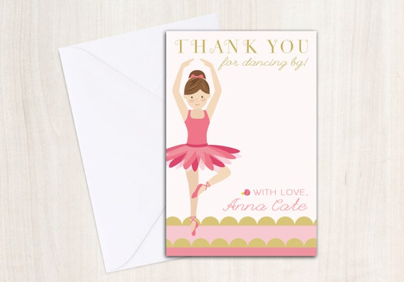 Ballet Thank You Note - Ballerina Dancer Thank You Card - party supplies