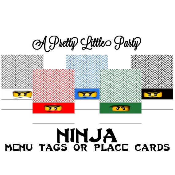 Ninja Menu Labels or Place Cards  - Ninja - Party Supplies - INSTANT DOWNLOAD