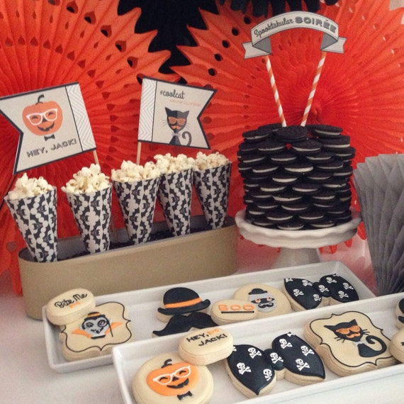 Hipster Halloween Cake Top Banner - Spooky Soiree Digital files - Party Supplies - INSTANT DOWNLOAD