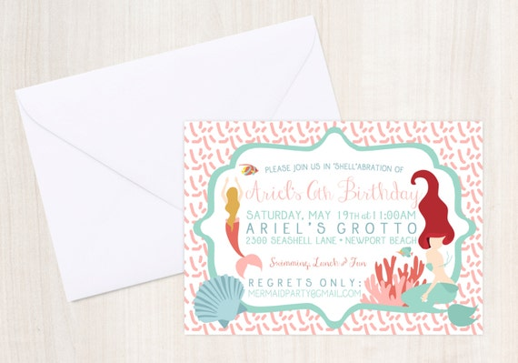 Mermaid party Invitation - Pool party Invitation- under the sea - little mermaid - party supplies