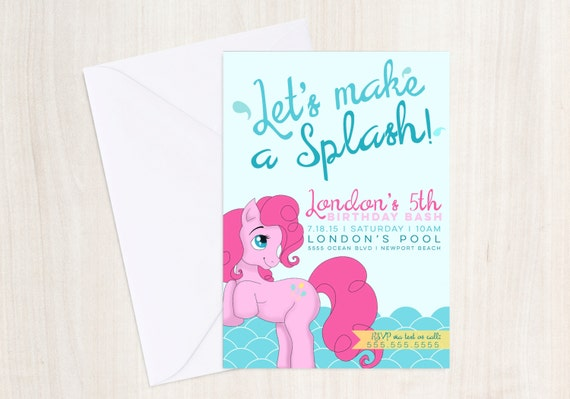 Pony Pool Party Birthday Invite - MLP Party Invitation - Little Pony Inspired - Party Supplies