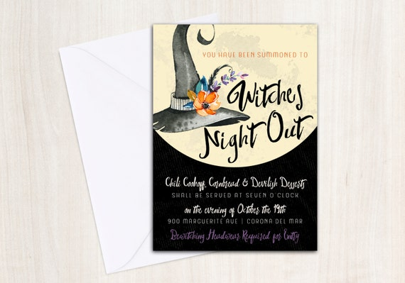 Witches Night Out Invitation - Witches Tea Party Ball - Printable Party Supplies