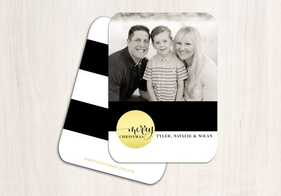 Chic Christmas Photo Card - Holiday Cards - Printed Double Sided