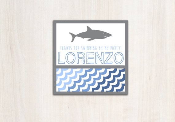 SHARK Favor Tags with personalization - Shark Party Supplies