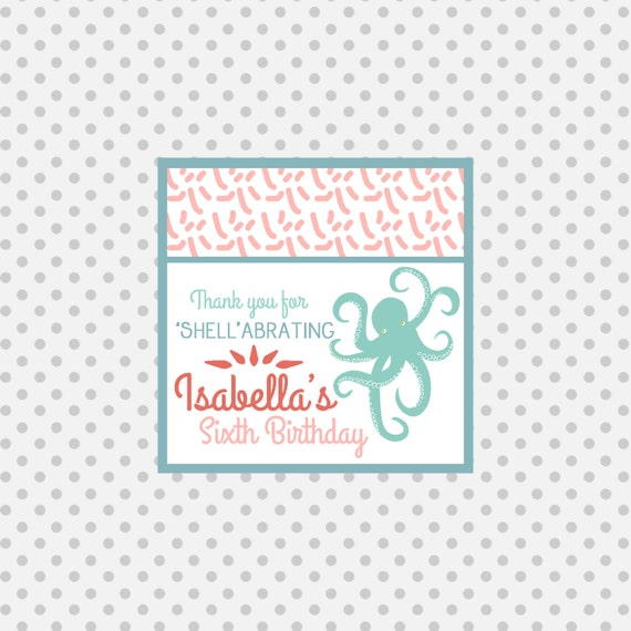 Octopus Favor Tag- Pool party Invitation- under the sea - beach party - party supplies