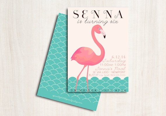 FLAMINGO Pool Party Birthday Invite - Flamingo Party Invitation - Beach Party  - Party Supplies