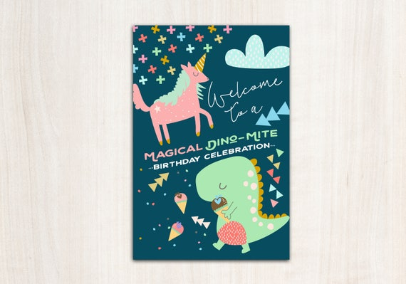 Dino Unicorn Welcome Poster - Dinosaur Unicorn Party Sign - Printable Supplies