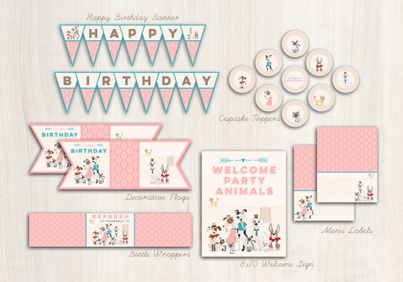 Hipster Dogs & Cats Party Pack  - Digital Pet Party - Party Supplies - INSTANT DOWNLOAD