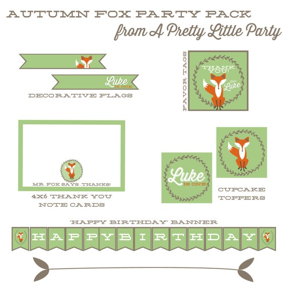 Autumn Fox Party Pack PERSONALIZED - Fox Birthday Party - Fox party package printables