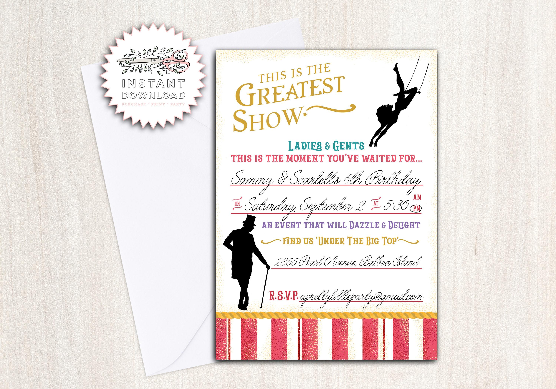 greatest showman birthday party invite instant download invitation