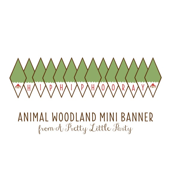 WOODLAND Animal Mini Banner  - Digital files - Party Supplies - INSTANT DOWNLOAD