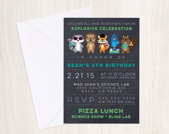HIPSTER Scientist Party Invite -  Science Show Invitation - Scientist Birthday  - Party Supplies