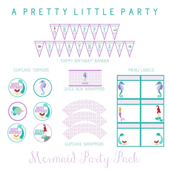 MERMAID Party Pack in purple - Girls - Digital files - Party Supplies - INTANT DOWNLOAD