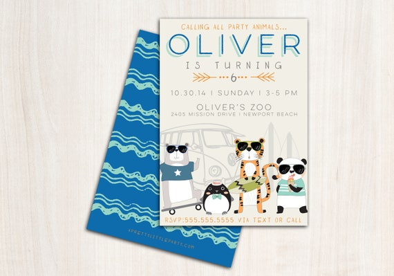 Hipster Surf Animals Invite - Surf & Skate Party Animals Birthday Invitation