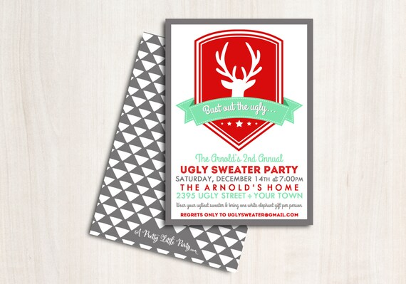 """Ugly Sweater Party Invitation - Christmas Party Invite - Holiday Invite """"Bust out the Ugly"""""""