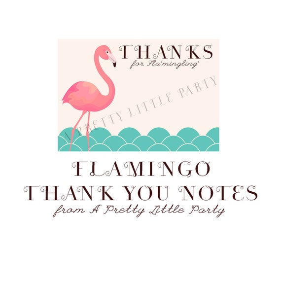 FLAMINGO Thank You Notes  - Digital files - Party Supplies - INSTANT DOWNLOAD
