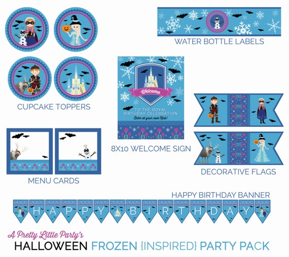 Halloween FROZEN {inspired} Party Pack  - Digital files - Party Supplies - INSTANT DOWNLOAD
