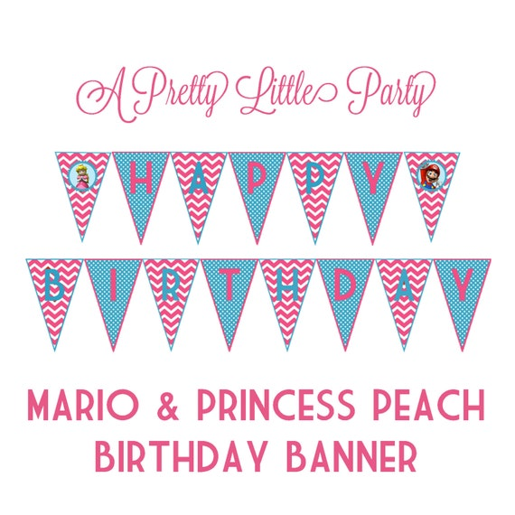 Princess Peach & Mario banner - Super Mario - Mario - Party Supplies - INSTANT DOWNLOAD