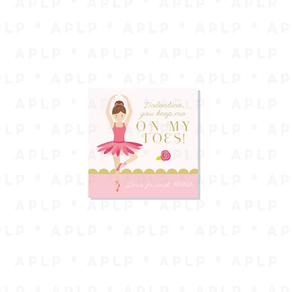 Ballerina Valentines - Ballet Dancer Valentine - Party Supplies