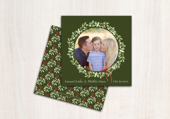 Mistletoe Kisses Christmas Photo Card - Funny Holiday Cards - Printed Double Sided