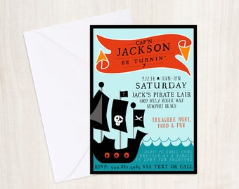 PIRATE Party Birthday Invite - Pirate Party Invitation - Beach Party  - Party Supplies