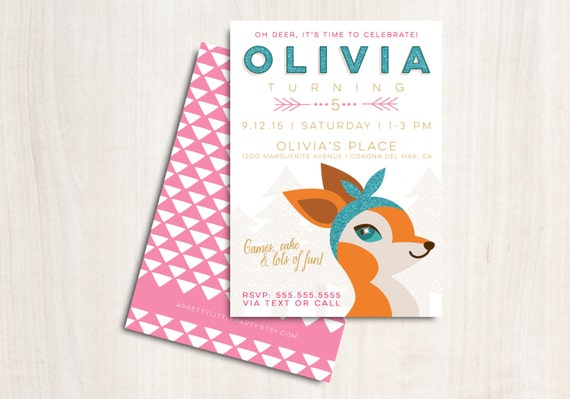 Oh Deer Party Invitation - Boho Woodland Deer Birthday Party - Printable Party Supplies