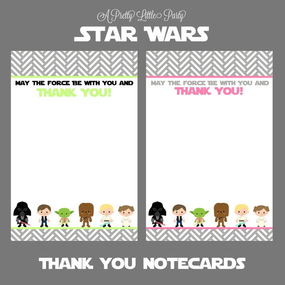 Star Wars Thank you Notecards - Character Thank You Cards - Star Wars - Party Supplies- INSTANT DOWLOAD