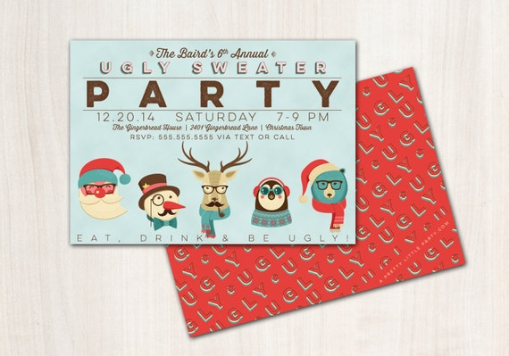 Ugly Sweater Hipster Invitation - Hipster Christmas Party  - Printable Party Supplies