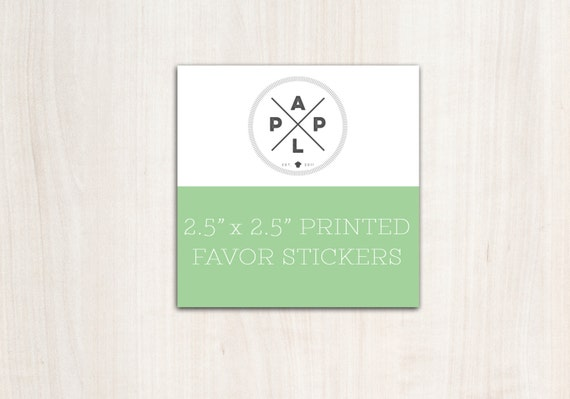 Add on --> Favor Sticker Printing to any favor tag design