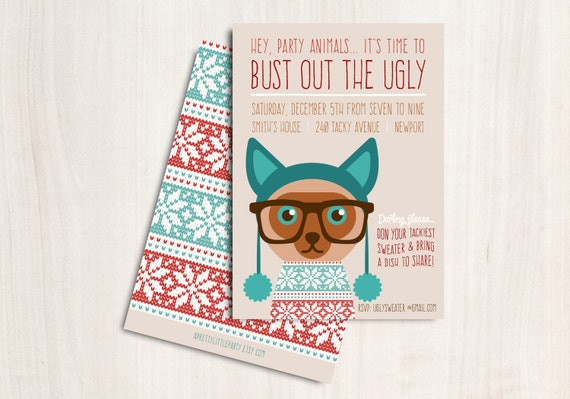 """Ugly Cat Sweater Party Invitation - Christmas Cat Party Invite - Holiday Invite """"Bust out the Ugly"""""""