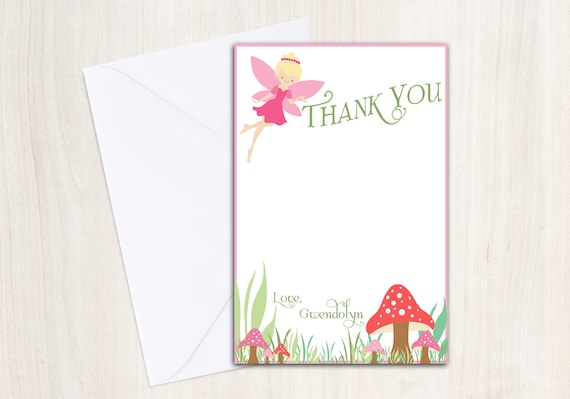 Fairy Thank You Cards - Pixie Party- Fairy Notes - Party Supplies