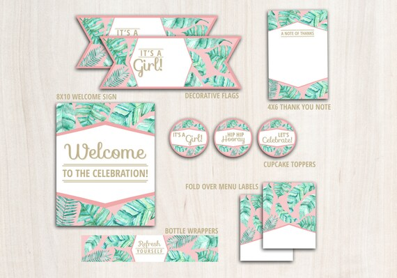 Pink Palm Shower Party Pack  - Tropical Modern Party Supplies - INSTANT DOWNLOAD