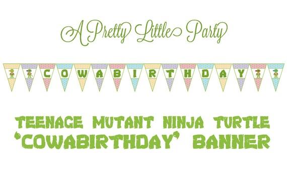 TMNT Birthday Banner - Teenage Mutant Ninja Turtles - Ninja - Party Supplies - INSTANT DOWNLOAD