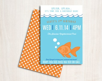 GOLDFISH Pool Party Birthday Invite - Fish Party Invitation - Beach Party  - Party Supplies