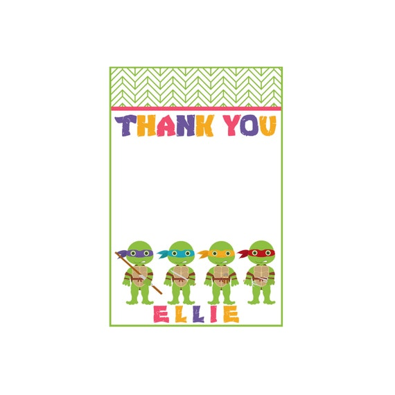 Custom Girls TMNT Thank You Cards - Teenage Mutant Ninja Turtles Party - Party Supplies