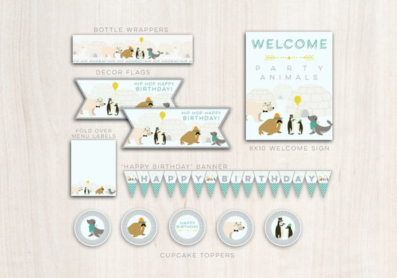 Hipster Arctic Animals Party Pack  - Digital files Animal Polar Arctic Party - Party Supplies - INSTANT DOWNLOAD