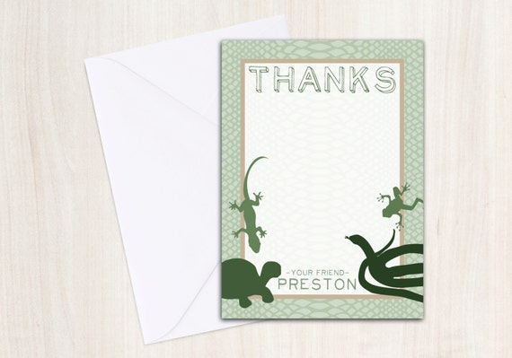 REPTILE Thank You Note Card - Reptiles party - snake party supplies