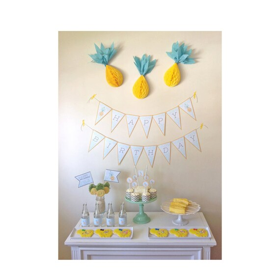 PINEAPPLE Birthday Party Pack  - Pineapple Digital files - Party Supplies - INSTANT DOWNLOAD
