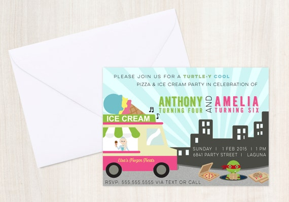 Joint Party - TMNT & Frozen {inspired} Invitation - boy girl joint party - Party Supplies
